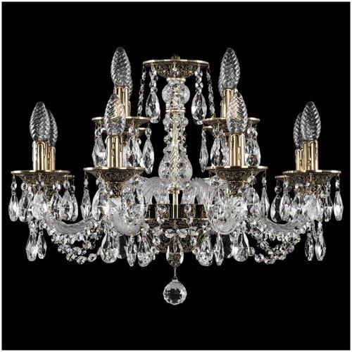 Люстра Bohemia Ivele Crystal 1602 16102/8+4/195 GB, E14, 480 Вт, кол-во ламп: 12 шт., цвет арматуры: золотой люстра bohemia ivele crystal 1716 8 8 4 265b gb