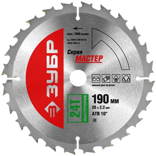 Фото - Пильный диск ЗУБР Мастер 36910-190-20-24 190х20 мм пильный диск зубр эксперт 36901 190 20 24 190х20 мм