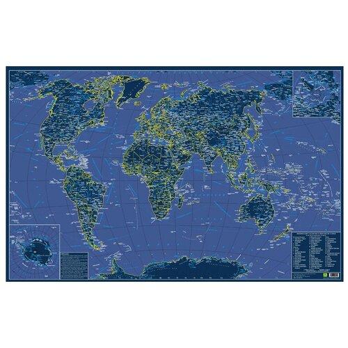 РУЗ Ко Карта мира святящаяся в темноте сувенирное издание (Кр708п), 90 × 60 см руз ко физическая карта мира карта полушарий настольная карта кр526п 59 × 41 5 см