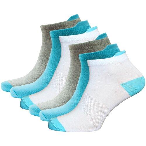 Носки спортивные женские короткие HOSIERY 72815 р 23-25 (36-39 размер ноги) бело-голубые 6 пар