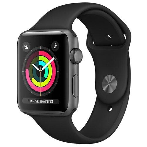 Умные часы Apple Watch Series 3 42мм Aluminum Case with Sport Band, серый космос/черный умные часы apple watch series 3 38mm aluminum case with sport band серебристый белый