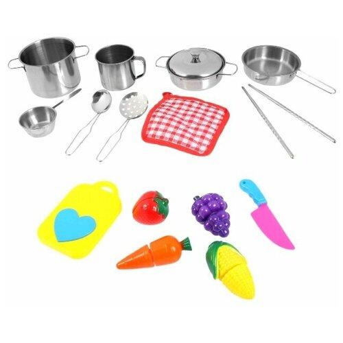 Набор детской металлической посуды, с продуктами для резки, 15 предметов