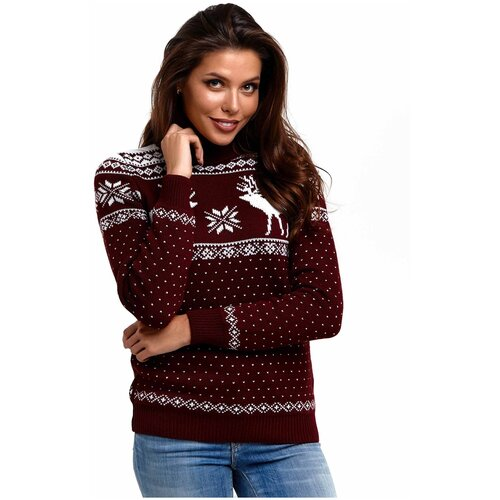Женский свитер, классический скандинавский орнамент с Оленями и снежинками, натуральная шерсть, бордовый, орнамент белого цвета, размер S