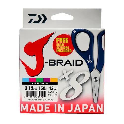 Плетеный шнур DAIWA J-Braid X8E-W/SC multicolor 0.18 мм 150 м 12 кг