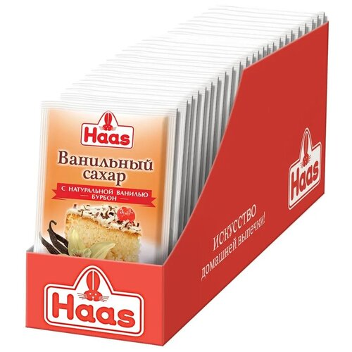Haas Ванильный сахар с натуральной ванилью Бурбон, 25 шт., 15 г, 25 шт. сахар kotanyi с ванилью 10 г