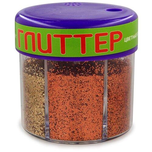 Купить Глиттер для декора с дозатором №2, 60 грамм, золото (6 цветов), Альт, Декоративные элементы и материалы