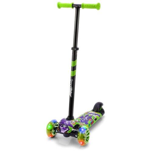 Фото - Детский кикборд Small Rider Turbo 2 Cartoons, зеленый/фиолетовый енот кикборд small rider cosmic zoo scooter оранжевый