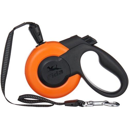 Поводок-рулетка для собак Fida Mars тросовая (M) оранжевый/черный 5 м