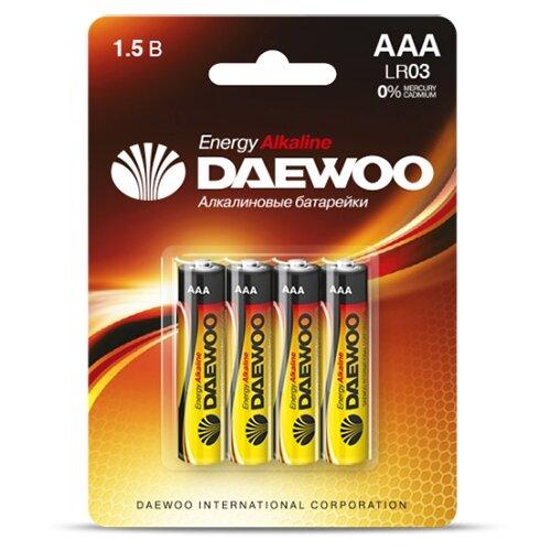 Фото - Батарейка AAA LR03 1,5V alkaline BL-4шт DAEWOO ENERGY (1030399) батарейка aaa ergolux lr03 alkaline bl 4 lr03 bl 4