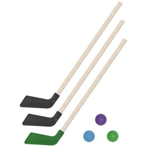 Детский хоккейный набор зима,лето 3 в 1/ Клюшки хоккейных 80 см (2 черных, 1 зеленая) + 3 шайбы, Задира-плюс