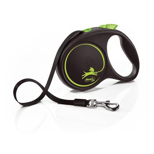 Фото - Поводок-рулетка для собак Flexi Black Design M ленточный зеленый 5 м поводок рулетка для собак flexi black design m ленточный зеленый 5 м