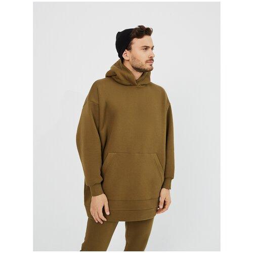 Худи мужская KVATI HU111544OS удлиненная/утепленная/с начесом/оверсайз/oversize/с карманом/хаки (зеленая) худи kvati