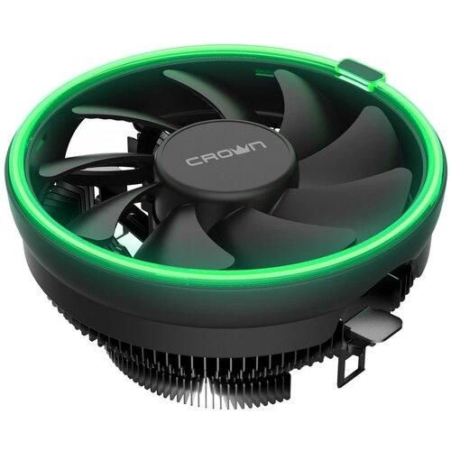Кулер для процессора CROWN MICRO CM-1152PWM черный/зеленая подсветка
