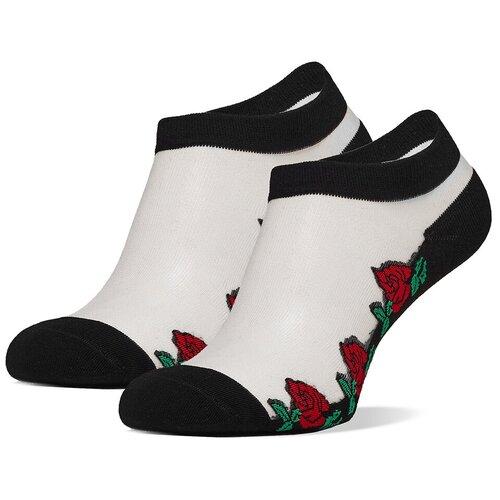 Укороченные женские носки с прозрачной вставкой и фигурными краями