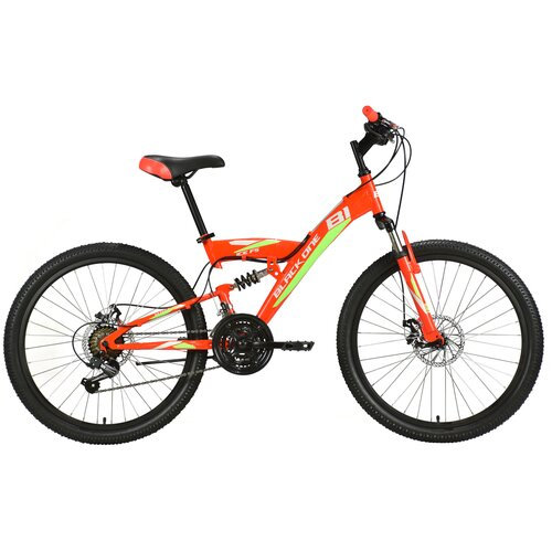 Подростковый горный (MTB) велосипед Black One Ice FS 24 D (2021) красный/зеленый (требует финальной сборки)