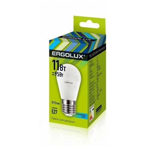 Фото - Лампа светодиодная Ergolux LED-G45-11W-E27-4K,Шар 11Вт,E27,4500K 13631 2 штуки светодиодная лампа ergolux led g45 11w e27 6k упаковка 10 шт