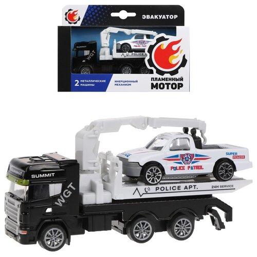 Фото - Эвакуатор инерционный Пламенный мотор металлическая кабина, металлическая мини машина, черный (870520) эвакуатор пламенный мотор 870364 13 см белый