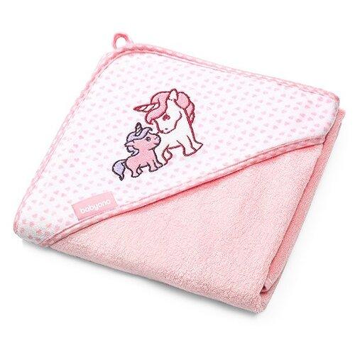 BabyOno Полотенце бамбуковое с капюшоном банное 100х100 см розовый