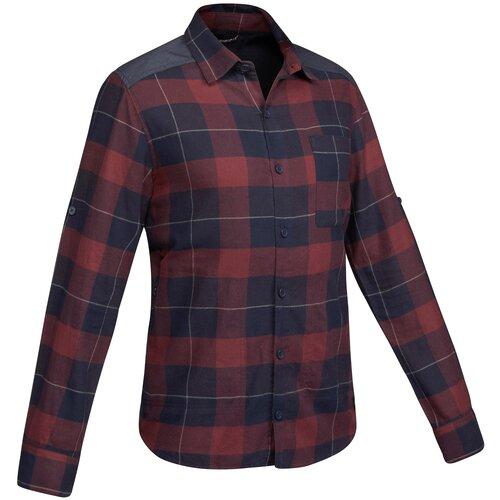 Рубашка для путешествий мужская TRAVEL 100 , размер: L, цвет: Асфальтово-Синий/Бордо FORCLAZ Х Декатлон