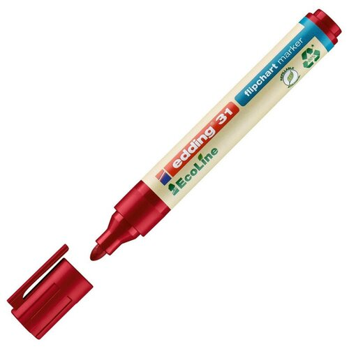 Купить Маркер по бумаге (для флипчартов) EDDING 31/2 Ecoline, 1, 5-3 мм, красный 2 штуки, Маркеры