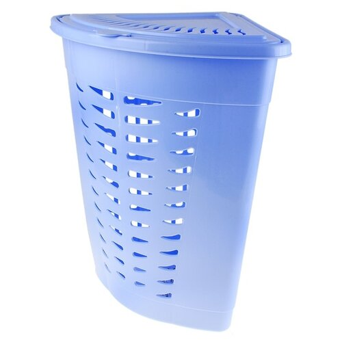 Корзина для белья угловая с крышкой 45 л, 38х38х56 см, цвет голубой 587078 недорого