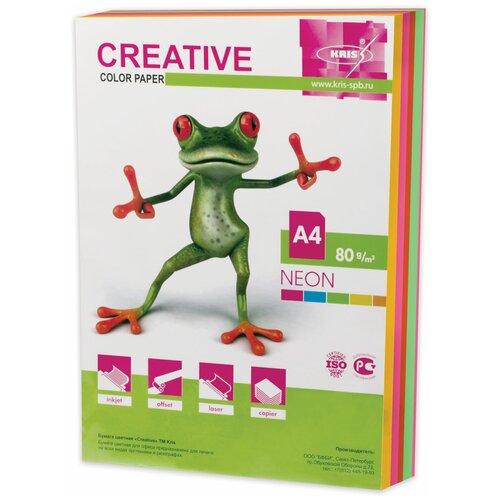 Фото - Бумага Creative A4 Color Neon 80 г/м² 250 лист, желтый/зеленый/малиновый/оранжевый/розовый бумага creative a4 студенческая 80 г м² 100 лист белый