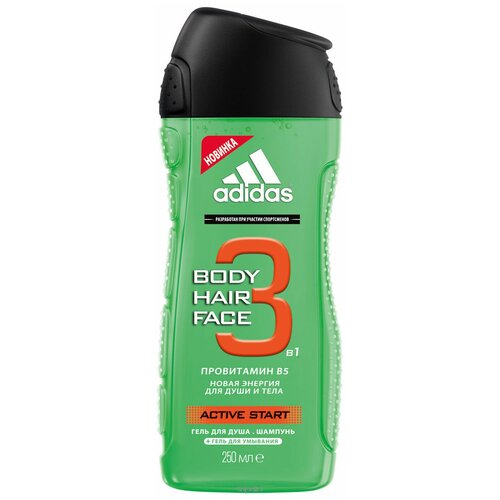 Гель для душа 3 в 1 Adidas Active start для мужчин, 250 мл