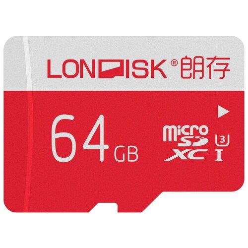 Фото - Карта памяти LONDISK 4K+ microSDXC Class 10 UHS-I U3 64 GB, чтение: 95 MB/s, запись: 90 MB/s, адаптер на SD карта памяти lexar microsdxc class 10 uhs i u3 a1 v30 633x 256gb sd adapter 256 gb чтение 100 mb s запись 45 mb s адаптер на sd