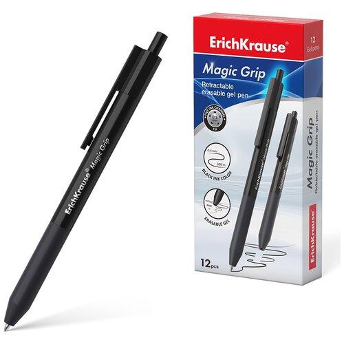 Ручка гелевая автоматическая сo стираемыми чернилами ErichKrause Magic Grip 0.5, цвет чернил черный (в коробке по 12 шт.) erichkrause набор гелевых ручек сo стираемыми чернилами r 301 magic gel 12 шт 0 5 мм 45211 46435 черный цвет чернил