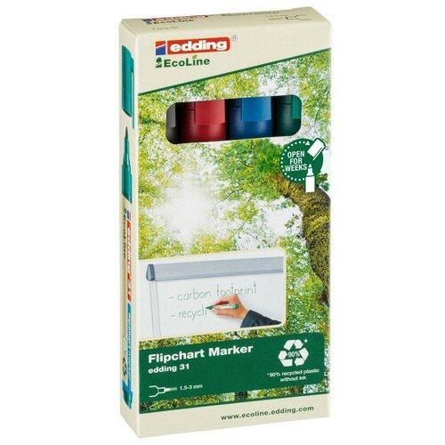 Купить Набор маркеров для флипчартов EDDING 31 Ecoline, 1, 5-3 мм, 4 цв. карт. кор, Маркеры