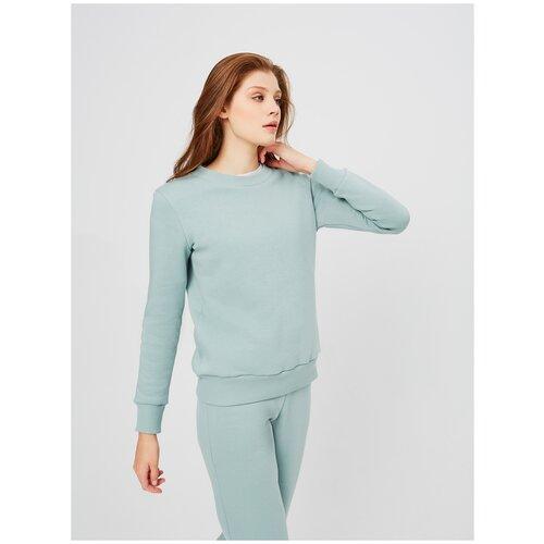 Свитшот толстовка KVATI SW11543S женская/утепленный с начесом/с вышивкой/голубой(зеленый, мята)