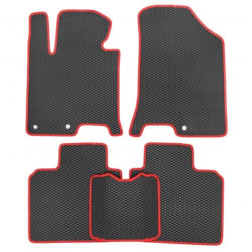 Комплект ковриков для салона ЕВА Dodge Caliber 2006 - 2013 (красный кант)Vicecar