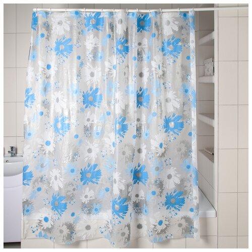 Фото - Штора для ванной Васильки, 180х180 см, EVA штора для ванной доляна графика 180х180 732658 синий