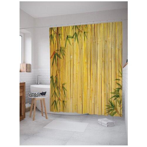 Штора для ванной JoyArty Бамбуковое заграждение с листьями 180x200 бежевый/желтый
