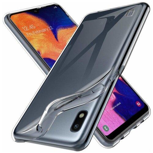Тонкий силиконовый чехол для Samsung Galaxy A10 / Прозрачный чехол накладка на Самсунг Галакси A10 / Ультратонкий чехол премиум с защитой от прилипания