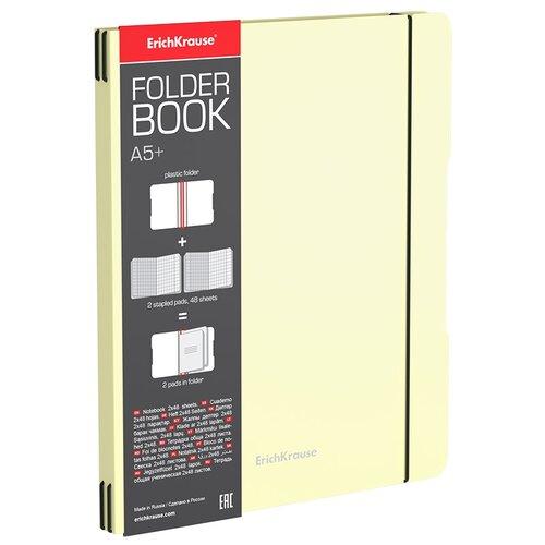 Тетрадь общая ученическая в съемной пластиковой обложке ErichKrause FolderBook Pastel, желтый, А5+, 2x48 листов, клетка тетрадь общая ученическая в съемной пластиковой обложке erichkrause folderbook accent красный а5 48 листов клетка