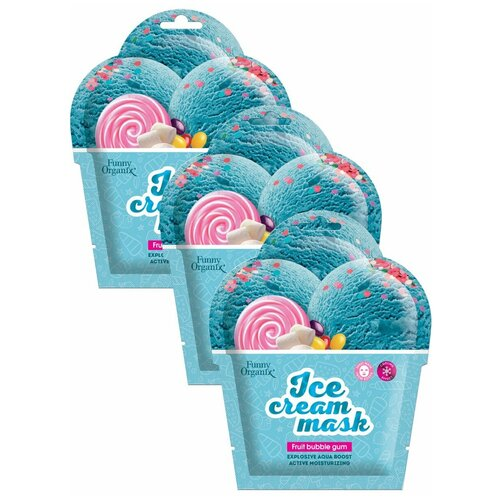 Купить Funny Organix Fruit Bubble Gum Охлаждающая тканевая маска-мороженое Ледяное увлажнение, 22 г, 3 уп.
