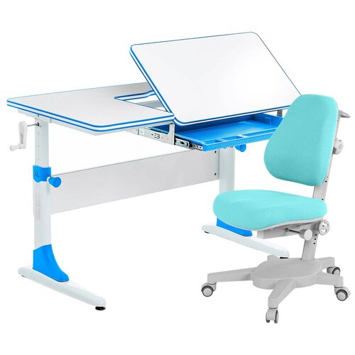 Комплект Anatomica Smart-40 парта + кресло белый/голубой с голубым креслом Armata комплект anatomica smart 60 парта study 120 lux кресло armata duos надстройка органайзер ящик клен серый зеленый