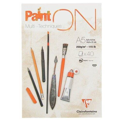 Купить Альбом для смешанных техник Clairefontaine Paint'On 21 х 14.8 см (A5), 250 г/м², 40 л., Альбомы для рисования