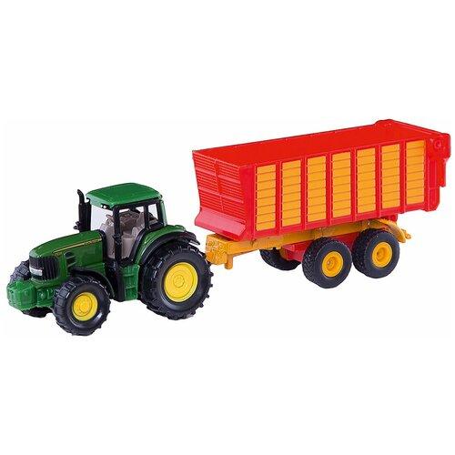 Фото - Трактор Siku John Deere с прицепом для силоса (1650) 1:87, 17.1 см, зеленый/красный набор машин siku тягач с яхтой 1849 1 87 27 см красный белый