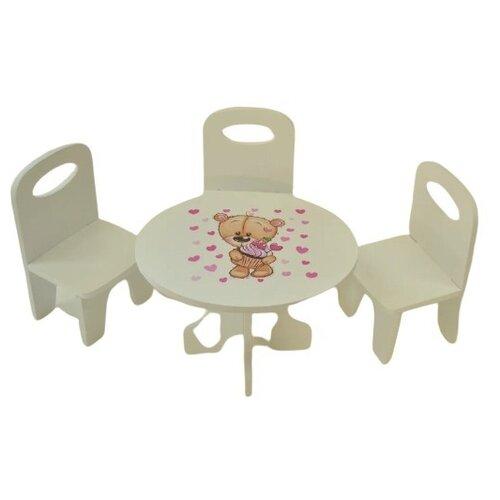Фото - Коняша Набор стол и стулья Мишутки Сладкоежка (МН05С) белый кукольные домики и мебель коняша набор стол и стулья мишутки романтик
