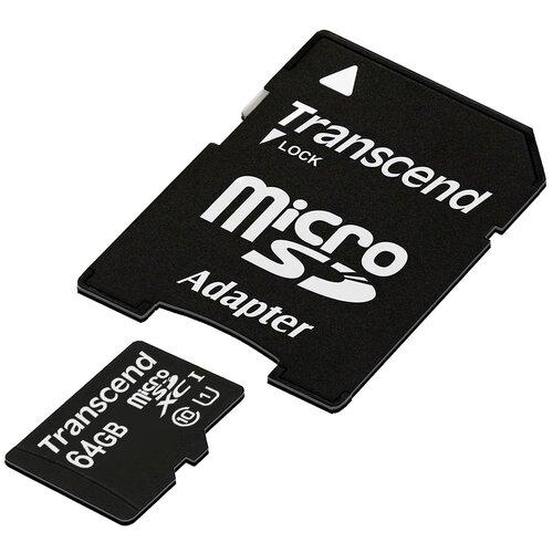 Фото - Карта памяти Transcend TS*USDU1 64 GB, адаптер на SD карта памяти transcend ts usdhc4 4 gb адаптер на sd