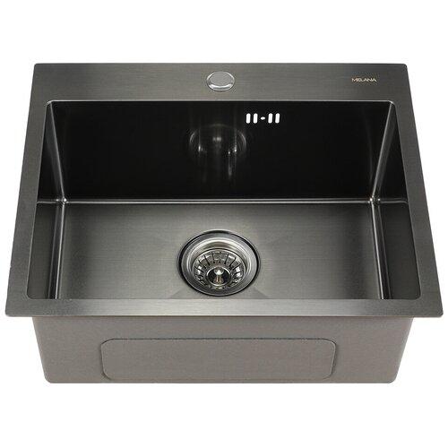 Врезная кухонная мойка 53 см MELANA MLN-5343 графит сатин кухонная мойка melana 218 t 10