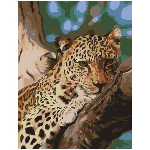 Картина по номерам Леопард на отдыхе, 70 х 100 см, Красиво Красим, Картины по номерам и контурам  - купить со скидкой