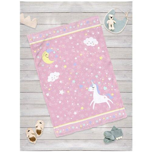 Купить Плед для новорожденных sfer.tex Единорог розовый 100х70 см, Покрывала, подушки, одеяла