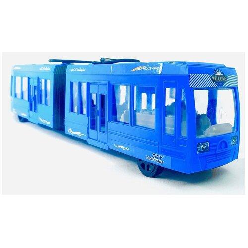 Купить Большой трамвай двухсоставный инерционный, KX905-10, 47х10х7 см, Play Smart, Машинки и техника