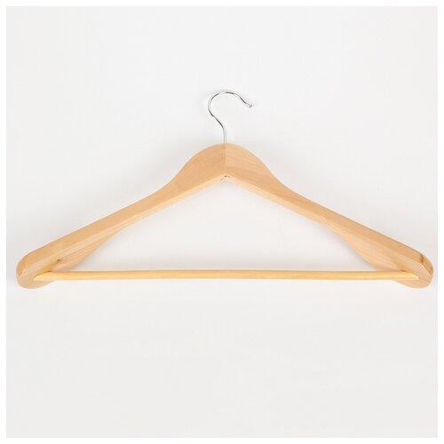 Вешалка для верхней одежды с перекладиной, широкие плечики 45х23 см, дерево светлое 565881 вешалка плечики для одежды рыжий кот эконом с перекладиной дерево w2 p