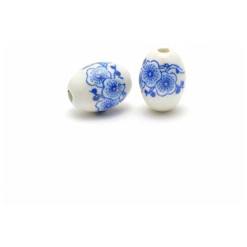 Бусины керамические Tesoro, белый, 2 штуки