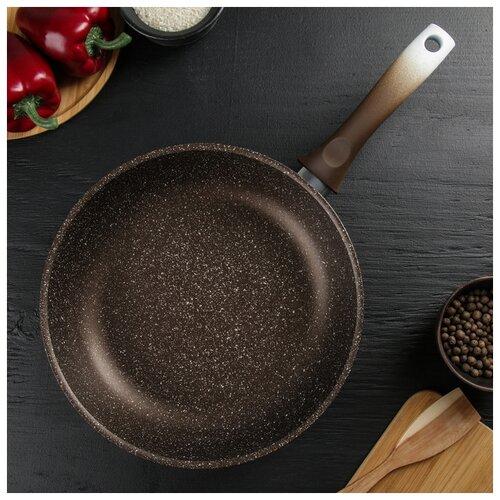 Сковорода 280мм с ручкой АП, (кофейный мрамор), линия Marble Induction 4278837 сковорода d 24 см kukmara кофейный мрамор смки240а