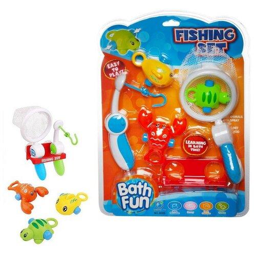 Игрушка для ванной. Рыбалка: удочка, сачок, держатель и 3 фигурки морских обитателей
